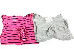 Lot of 2 Women's Size Medium Shirts Gray & Pink Stripes by Old Navy & Energie
