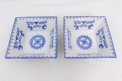 Pair of Royal China Blue White Floral Medium Square Serving Bowls Ribbed