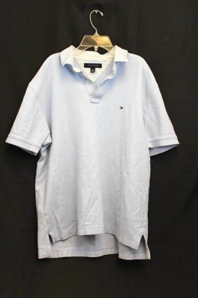 Tommy Hilfiger Size Large Men's Light Blue Polo Shirt 100% Cotton