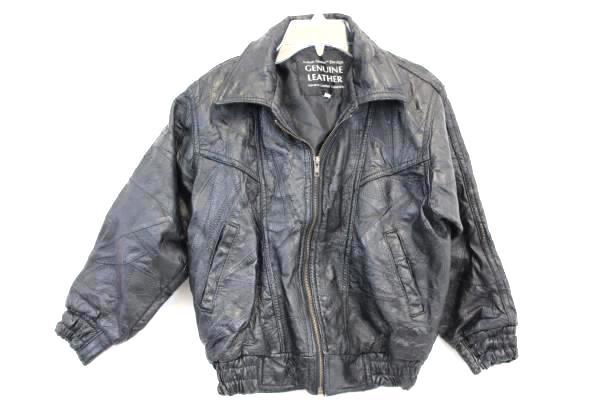 Navarre Leather Company Women's Black Leather Jacket Italian Stone Design Sz 10