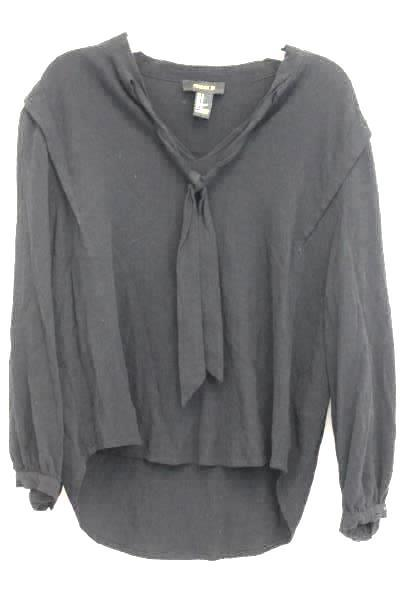 Forever 21 Tie Neck Long Sleeve Black Blouse Size M