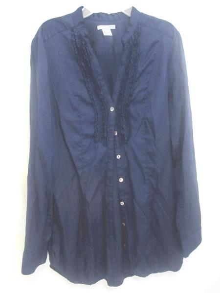 H&M Silk Shirt Long Sleeve Shirt Dark Blue Women's Size 6