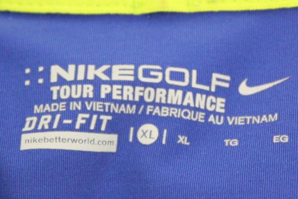 NIKE Dri Fit Golf Polo Tour Performance Athletic Top Blue w/ Green Men's XL