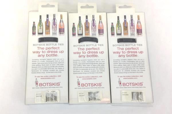 3 Botskis Bottle Ties Black Wine Beer Wedding Bachelor Party Dining Table Bar