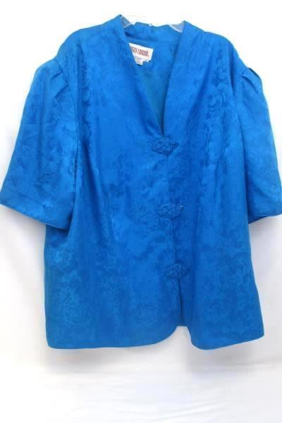 Women's Maggy London Silk Short Sleeve Button up Light Blue Size 22