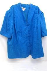 Women's Maggy London Silk Short Sleeve Button up Light Blue Size 22