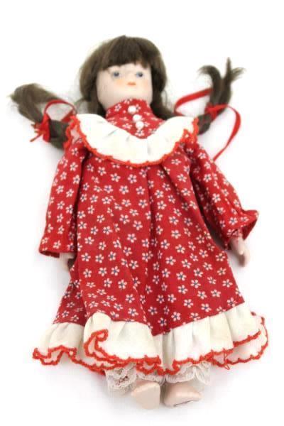 Brunette 7 1/2'' Porcelain Doll Made By Gift World Of Gorham