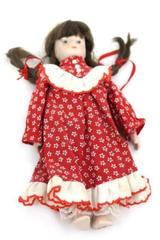 Brunette 7 1/2'' Porcelain Doll Made By Gift World Of Gorham