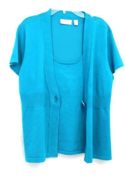 John Paul Richard Women's Knitted Turquoise Shirt 77% Rayon Size Medium