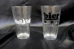 Lot of 2 Beer Glasses Cups Full Sail Bier One Newport Oregon Glassware Clear