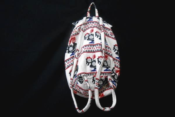 Fimma Portugal Weaved Fold Over Backpack Bag Rooster Boho