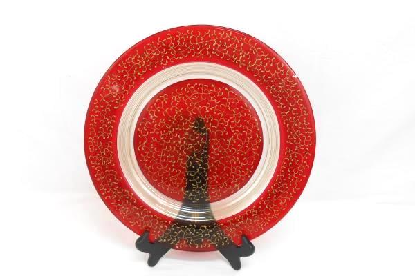 Pier 1 Red Mouth Blown Handcrafted Swirl Serving Decorative Plate Stand Red Gold