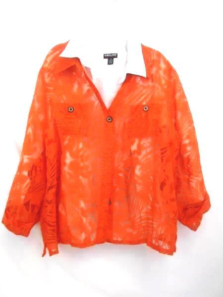 Lot of 2 Women's Shirt/Undershirt ~Kirkland Signature Orange White Black Size L