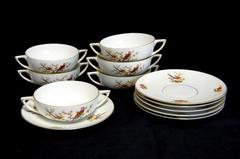 Set of 6 Bohemia Porcelain Soup Bowls & Saucers Eden Birds Donatello Czech