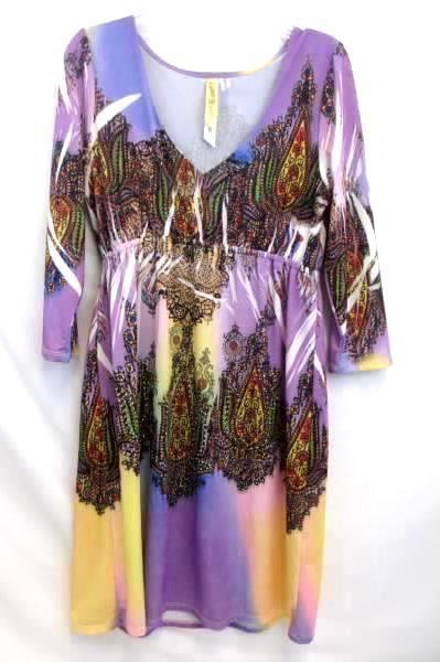 Dress by Ocean Breeze 3/4 Sleeve Multi-color Women's Size S