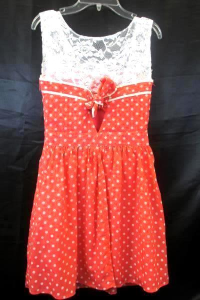 Dress by Forever 21 Polka Dot Pink with Lace Women's Size S/P