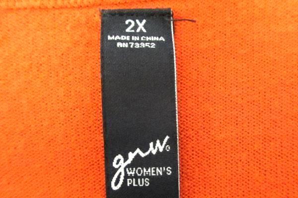 GNW Women's Pullover Long Sleeve 79%Rayon Light Grey Gray Orange Size XXL