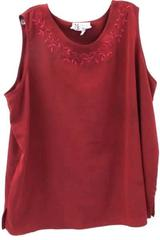 Maggie Sweet Women's Sleeveless Shirt 100% Polyester Red Floral Size 2XL