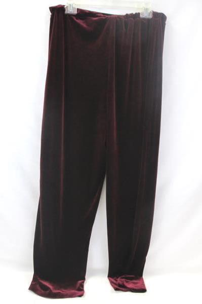 Impressions Women's Leggings Velvet Burgundy 90% Polyester Size XL