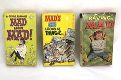 3 Mad Magazine Paperback Books 1970s RAVING MAD; MAD ABOUT MAD; DAVE BERG