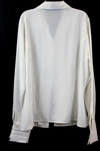 Laura Scott Women's Long Sleeve Button Up White 100% Polyester Size 12