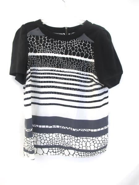 Halogen Women's V-Neck Black White Gray Grey 100% Polyester Size XS Petite