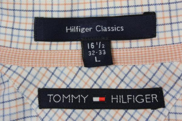 Tommy Hilfiger Classics Men's Long Sleeve Button-Up Shirt White Orange Blue Sz L
