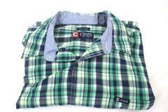 Chaps Button Up Short Sleeve Green Blue Plaid Men's Size L