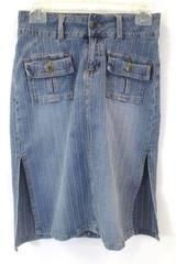 Bubble Gum Skirt Blue Stretchy Denim Front Pockets Women's Size 1/2