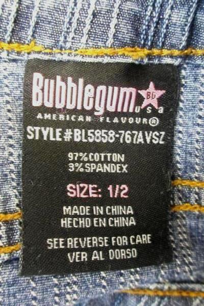 Bubble Gum Skirt Blue Stretchy Denim Front Pockets Women's Size 1/2