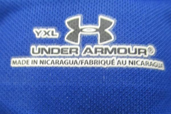 Under Armour Blue Fitted Short Sleeve Shirt Men's Size YXL