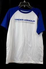 Under Armour Men's Blue & White Short Sleeve Shirt Size YLG