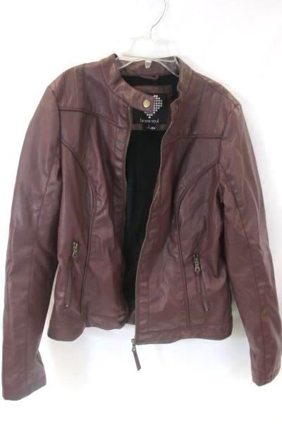 Brave Soul Women's Polyester Faux Fur Lined Jacket Burgundy Zip Down Size L