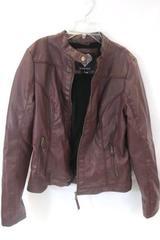 Brave Soul Women's Polyester Faux Fur Lined Jacket Burgundy Zip Down Size L