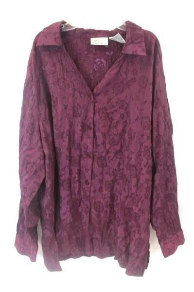 Katie Lee Shirt Plum Floral Long Sleeve Women's Size 26W/28W