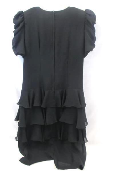 Samantha Black Women's Dress Solid Bottom Big Ruffles 100% Polyester Size 10
