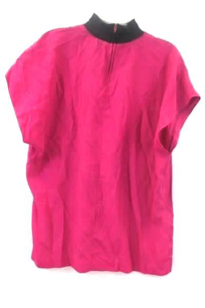 Francine Browner Shirt Pink Short Sleeve Zip Up Neck Women's Size 28W #13708
