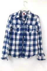 DIVIDED by H&M Button Up Flannel Blue & White Girl's Size 4