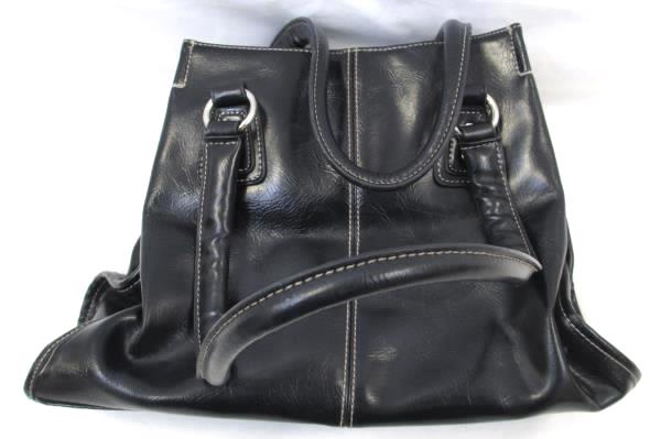 Women's Shoulder Purse By Nine & Co Genuine Leather Black Button Closure