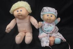 Lot of 2 Cabbage Patch Kids Redhead & Blonde Boy Dolls Blue Unclothed / Pajamas