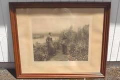 Rare Antique Original Causerie Ridgway Knight Photogravure Art Print Fishel 1899