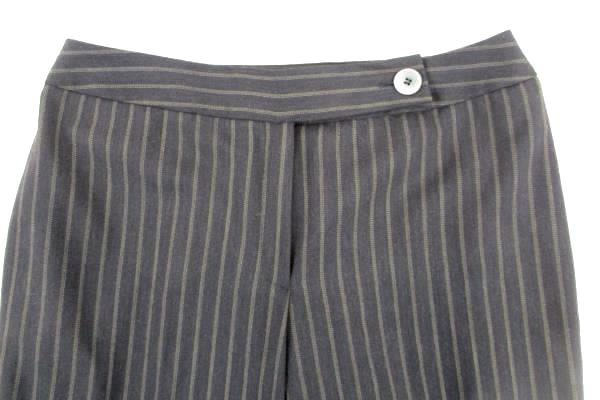 Anne Klein Women's Black with Brown Pinstripes Pants Career Casual Dress Size 8