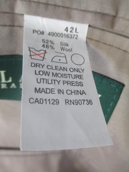 Men's Suit Jacket By Ralph Lauren Tan w/Black Spots Size 42L
