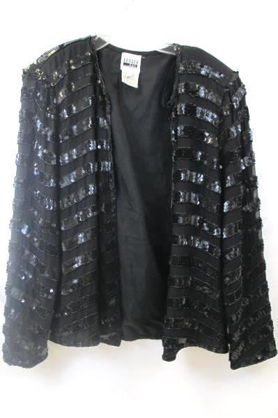 Leslie Fay Women's Over Shirt Black Sequence Long Sleeve Size Medium