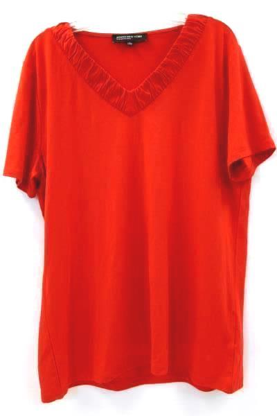 Jones New York Women's Shirt Red Short Sleeve Size L