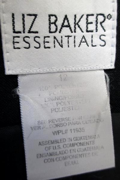 Liz Baker Essentials Women's Blazer Jacket Solid Black Size 12