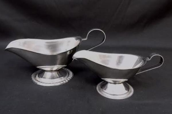 Lot of 2 Bloomfield Stainless Steel Gravy Boats Model 3736 and 3737