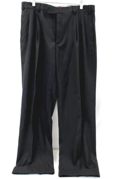 Vitaliano Men's Black Dress Pants Pleated Cuff Plaid Size 36W