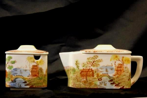 Vintage Hand Painted Japanese Teapot and Sugar Dish
