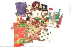 Lot of Christmas in July Decor Wrap Ornaments Bows Sparkly Trees Bells Door Hang
